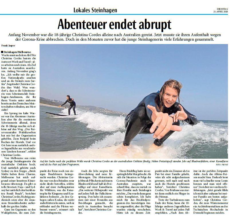 Mit freundlicher Genehmigung des Haller Kreisblattes, Bericht vom 21.04.2020